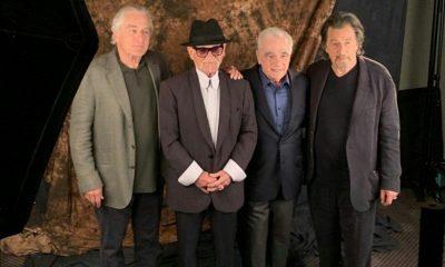 """آل پاچینو، مارتین اسکورسیزی، جوپشی و رابرت دنیرو دیروز در مراسم اکران فیلم «مردایرلندی» در جشنواره فیلم نیویورک فیلم اقتباسی است از کتاب پرفروش """"I Heard You Paint Houses"""" نوشتهی چارلزبرانت. داستان پیرامون ماجرای واقعی آدمکش حرفهای بدنام، فرانک شیران ملقب به مرد ایرلندی است که قرار است نقش او را رابرت دنیرو ایفا کند."""